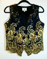 vintage steampunk vest gold embroidered detailed pattern size m