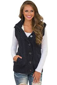 sweater vest womens black cable knit hooded sweater vest mb27665 2 modeshe com