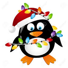 penguin with christmas light bulbs royalty free cliparts vectors
