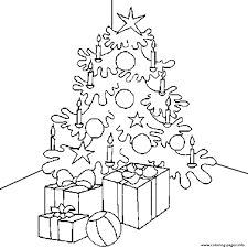 coloring page of christmas tree with presents presents candle and christmas tree s for kids printable51b4 coloring
