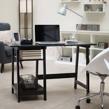 Office Computer Desk Manhattan Open Computer Desk With Adjustable Shelf Black Hayneedle