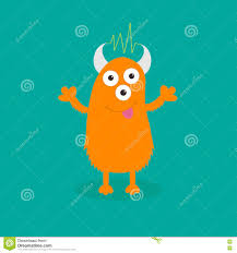 happy halloween cute pictures orange monster with eyes horns tongue electricity line funny