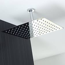 Ceiling Mounted Rain Shower by Koko Brand Rain16 16 Inch Solid Square Ultra Thin Rain Shower Head