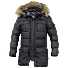 mens parka jacket brave soul coat padded quilted hooded puffer fur