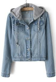 Light Denim Jacket Light Blue Hooded Long Sleeve Bleached Denim Crop Jacket Shein