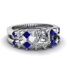 blue and white engagement rings princess cut personalized pave accent engagement ring with