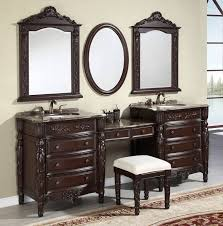 Grey Wood Bathroom Vanity Grey White Bathroom Decoration Using Round Clear Glass Bowl