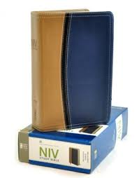 niv study bible soft leather look tan blue thumb indexed