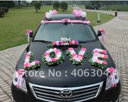wedding car decorations free shipping by ems 1 set lot wedding car decoration pink