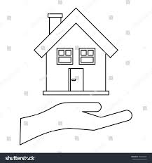 house palm icon outline illustration house stock vector 502204906