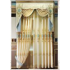 gold floral embroidery and jacquard faux silk luxury valance curtains