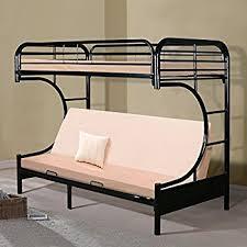 Amazoncom CShape Futon Metal Bunk Bed Twin Over Futon BLACK - Metal bunk beds with futon