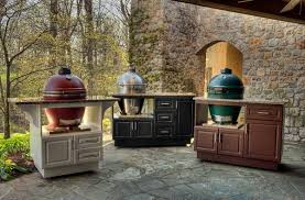 Green Egg Kitchen - outdoor kitchen cabinets with big green egg patio design ideas