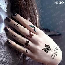 temporary butterfly cross finger ear stickers