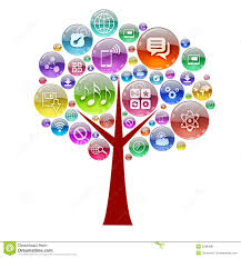 silhouette of a tree consisting of apps icons stock illustration