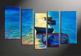 Photography Home Decor 5 Piece Sunrise Blue Ocean Group Canvas