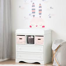south shore savannah changing table with drawers gray maple south shore savannah 2 drawer pure white and pink changing table