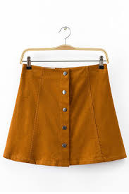 corduroy skirt yellow button through a line skirt in corduroy us 13 95 yoins