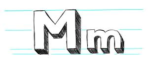 how to draw 3d letters m uppercase m and lowercase m in 90