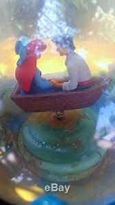 mermaid kiss disney store musical snow globe rare