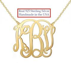 personalized monogram necklace personalized monogram necklace 1 inch 18k gold plated any initial