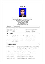 Resume Sample Untuk Kerja Kerajaan by Format Resume 2016 Bahasa Melayu Virtren Com