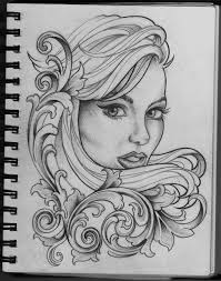 old woman face tattoo design