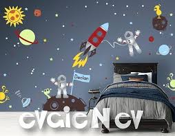Outer Space Decor Custom Flag Name Wall Decals With Astronauts And