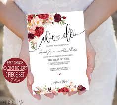 printable wedding invitation template burgundy marsala floral