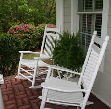 retro white painted mahogany wood outdoor rocking chairs which