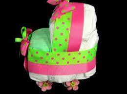 bassinet baby shower centerpiece gift diaper cake pink green