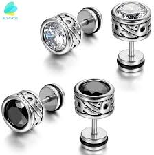 mens earings boniskiss high quality cool mens earring ear stud stainless steel