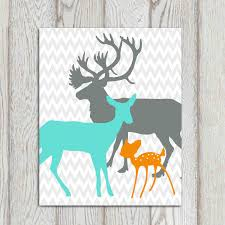 Deer Nursery Bedding Nursery Decor Print Orange Turquoise Gray Boys Girls Bedroom