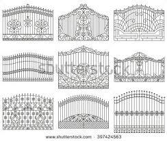 forged gates set decorative metal gates stock vector 397424563