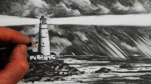 how to draw a lighthouse the sea and sky youtube