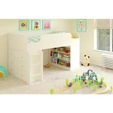avenue greene elements white loft bed with bookcase and dresser by