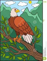 cartoon wild birds for kids eagle cute eagle sits smiles stock