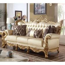 meridian furniture 676 s bennito pearl tufted leather sofa on
