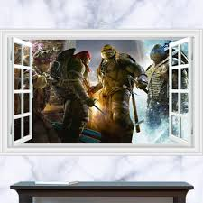 popular wall murals for teenagers buy cheap wall murals for lovespace 3d windows teenage mutant ninja turtles wall stickers mural decals poster leonardo mikey 60x90cm