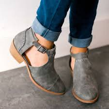 s qupid boots qupid shoes buckle side cut out buckled bootie ankle boots in grey
