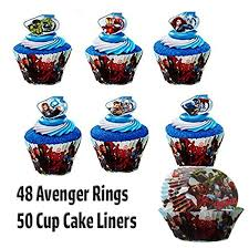 48 avengers super hero rings and 50 avenger cupcake liners