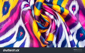 ornament ikat khan atlas traditional uzbek stock photo 699255337