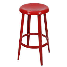 joveco metal round top backless 26 inch stool red jch226 1