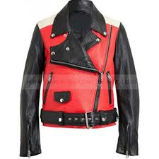 red and black motorcycle jacket demi lovato jacket acne studios leather jacket