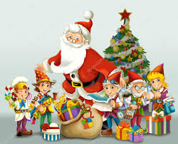 the santa claus the christmas tree and the dwarfs u2014 stock