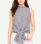 Black And White Plaid Shirt Womens Red And Blue Plaid Shirt Sleeveless Tie Front Top For Women