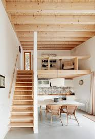 mezzanine floor plan house open plan living space with exposed wood structure wooden