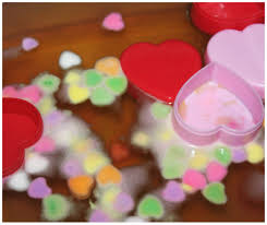 heart candy candy heart sink the boat science sensory play