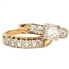 wedding ring set 1950s yellow gold and diamond wedding ring set for sale at 1stdibs