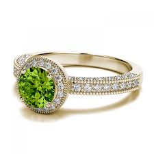 6mm diamond peridot and vintage milgrain 52ctw diamond engagement ring in 14k
